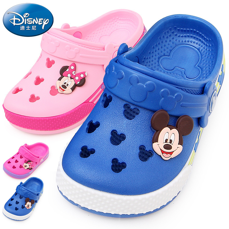 Genuine Disney Minnie Mickey Mouse Shoes Children Hole Shoes Kids Baby Boy Girls Slippers Children's Beach Shoes