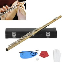 Gold 16 Holes CKey Flute Cupronickel Body Silver Keys with Storage Leather Box Cleaning Cloth Stick Gloves Etc set
