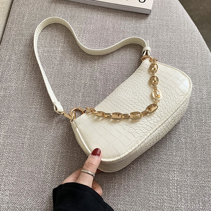 Fashion Crocodile Pattern Baguette Bags MINI PU Leather Shoulder Bags For Women Chain Designer Luxury Handbag Female Travel Tote