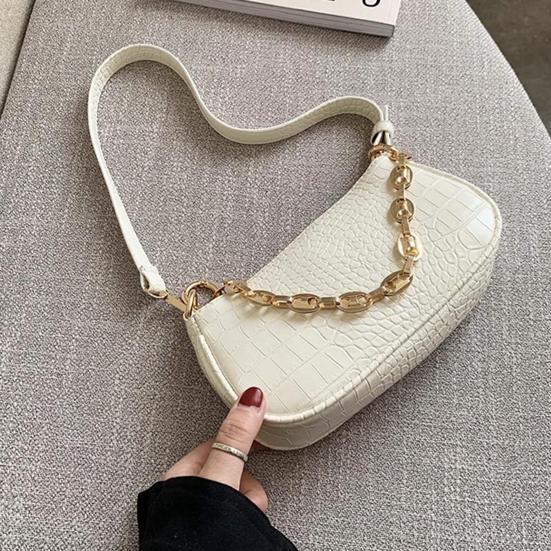 Moda çanta baguette me model krokodili çanta prej lëkure mini PU - Çanta dore - Foto 1