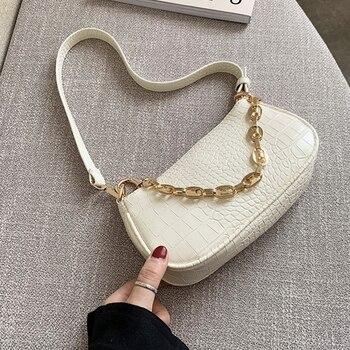 Fashion Crocodile Pattern Baguette bags MINI PU Leather Shoulder Bags For Women Chain Designer Luxury Handbag Female Travel tote