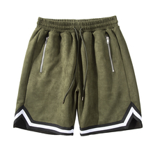 Original Suede Striped Loose Casual Shorts Mens Solid Drawst