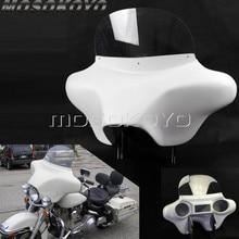 ABS Kunststoff Weiß Abnehmbare Batwing Verkleidung Front Scheinwerfer Verkleidung w/Halter für Harley Touring Road King 94  13