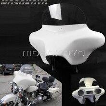 ABS plastikowe białe odpinany Batwing Fairing przedni reflektor Fairing w/wspornik przedniej szyby dla Harley Touring Road King 94 13