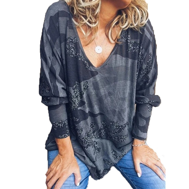 Осень 2019, свободные женские футболки с длинным рукавом, камуфляжный принт, v-образный вырез, большой размер, топы, футболки, S-5XL размера плюс, ...