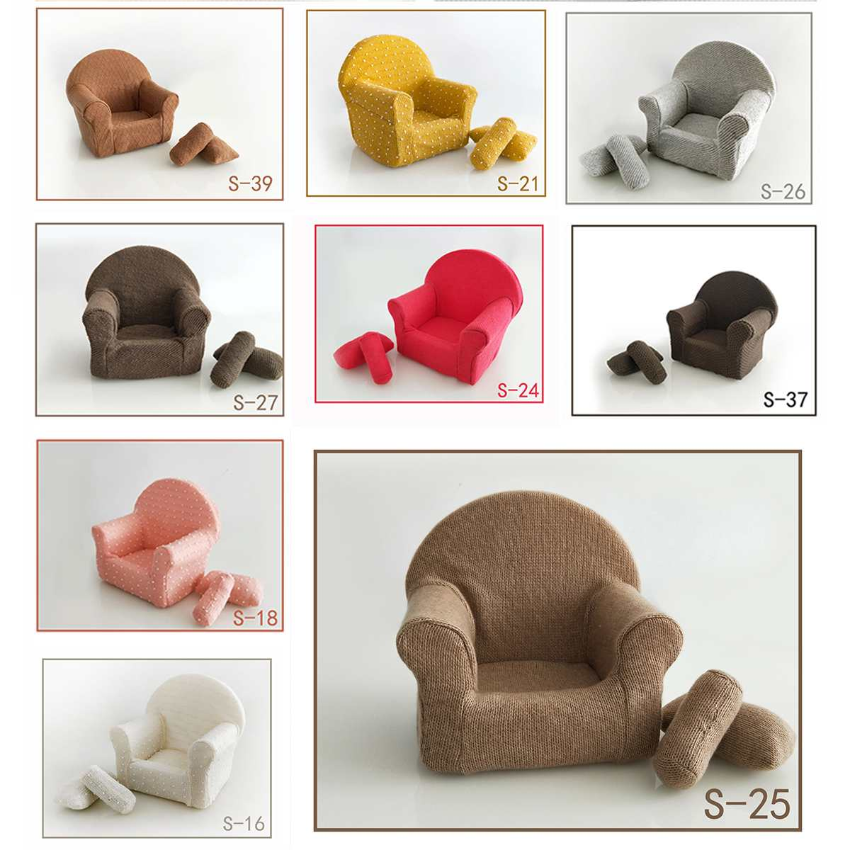 Soft Foam Cotton Photographing Props Studio Shooing Kids Children's Infant Baby Posing Chair Seats 10 Color Small Sofa Newborn