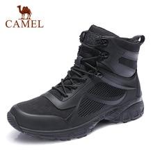 Zapatos de hombre para invierno CAMEL, botas de hombre para senderismo al aire libre de cuero genuino cálidas, botas de nieve de algodón suaves antideslizantes para hombre a prueba de agua