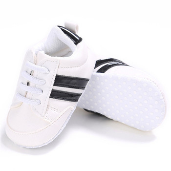 2020 Baby Shoes Newborn Boys Girls Two Striped First Walkers Kids Toddlers Lace Up PU Leather Soft Soles Sneakers 0-18 Months - 03, 13-18 Months