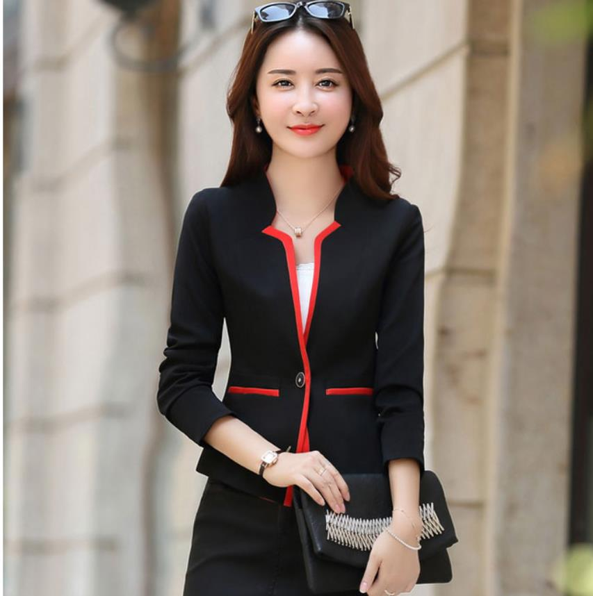 Spring Autumn New Fashion Leisure One Button Blazer Coat Women Short Suit Patchwork Formal Womens Red Blue Blazers Jacket