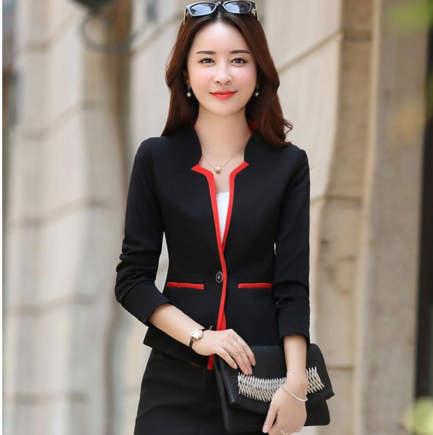 Spring Autumn New Fashion Leisure One Button Blazer Coat Women Short Suit Patchwork Formal Womens Red Blue Blazers Jacket