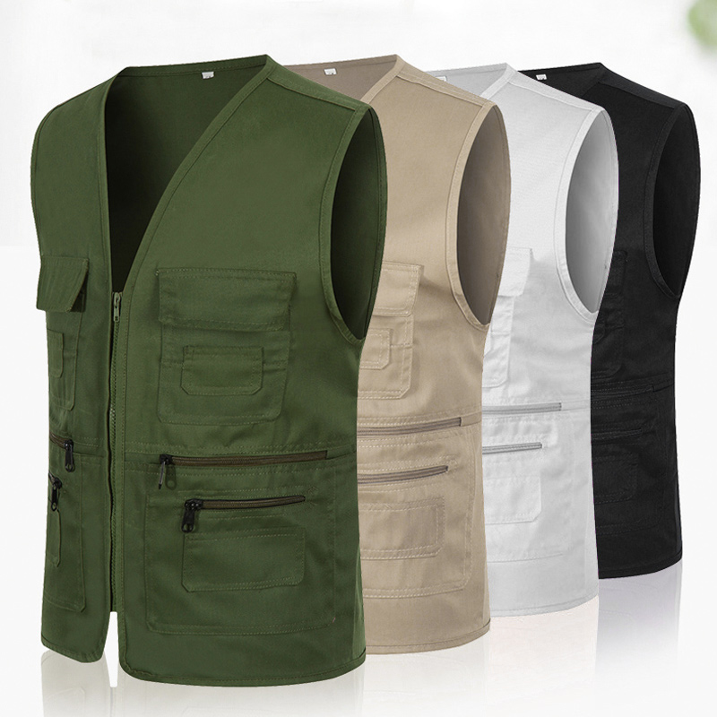 Newly Men Women Waistcoat Multi-pockets Zipper Loose Casual Vest For Outdoor FIF66
