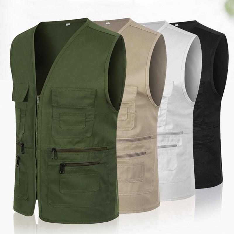 Newly Men Women Waistcoat Multi-pockets Zipper Loose Casual Vest For Outdoor FIF66