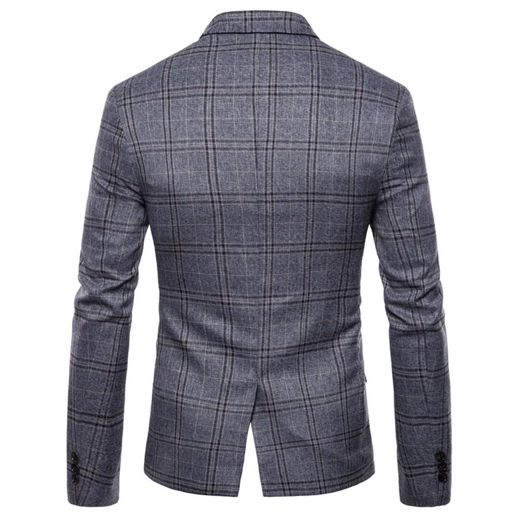 xadrez negócio terno de casamento fino ajuste outwear blazer casaco d90815