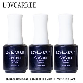 LOVCARRIE 15ML UV żelowa baza warstwa wierzchnia zestaw podkład żelowy lakier do paznokci gumowa podstawa matowy nie lepki lakier nawierzchniowy do żel do malowania paznokci lakier tanie i dobre opinie CN (pochodzenie) Wielofunkcyjny top lakier bazowy Natural Resin UV Gel Base Coat Top Coat 3 PCS Rubber base coat top coat