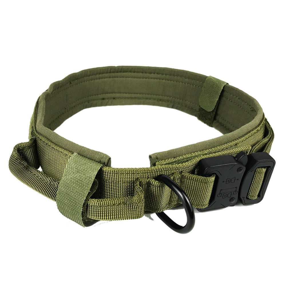 Soft Nylon Dog Collar Neck Tactical Training Pet Military Police Products For Puppy