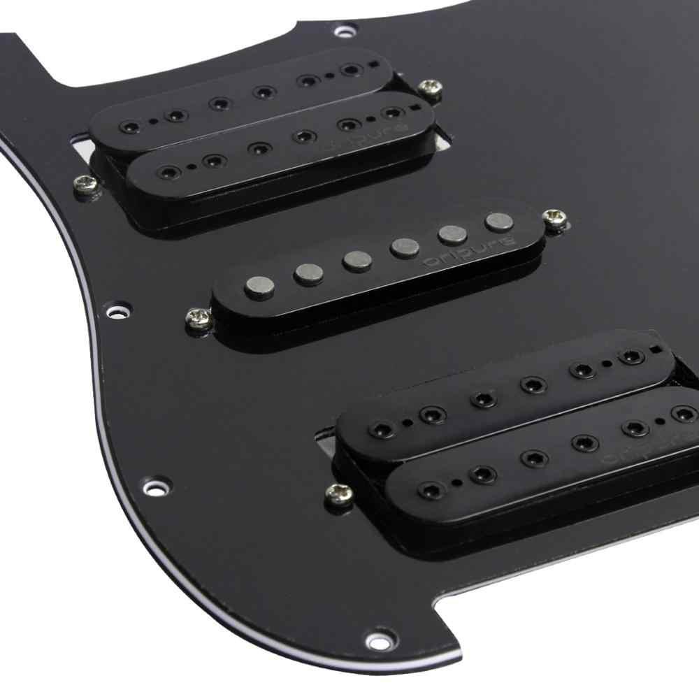OriPure negro precableado guitarra eléctrica Pickguard Alnico 5 Pickups potenciómetro 500k para Strat HSH 11 agujeros