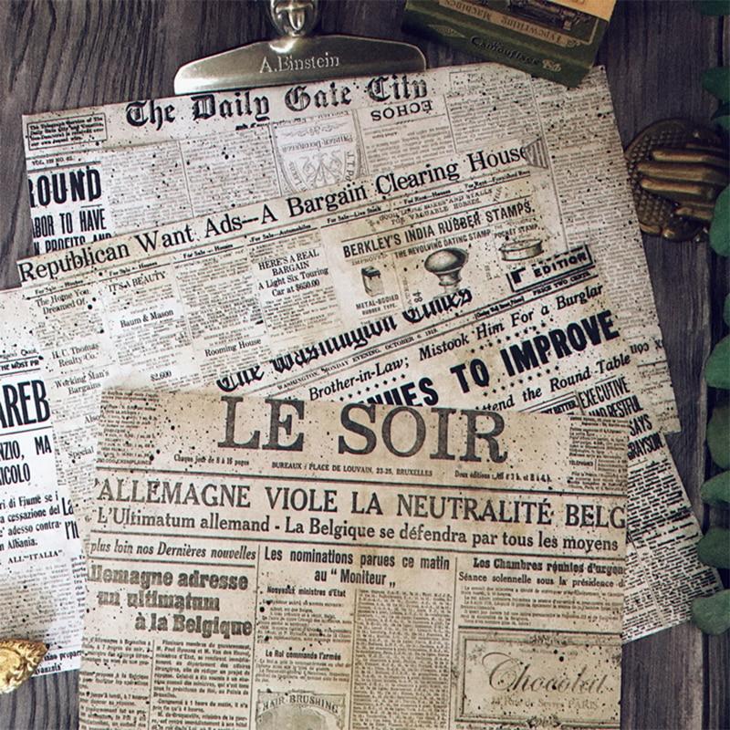 8 stücke Vintage industrielle alte zeitung serie aufkleber DIY scrapbooking album tagebuch dekoration collage basis material aufkleber