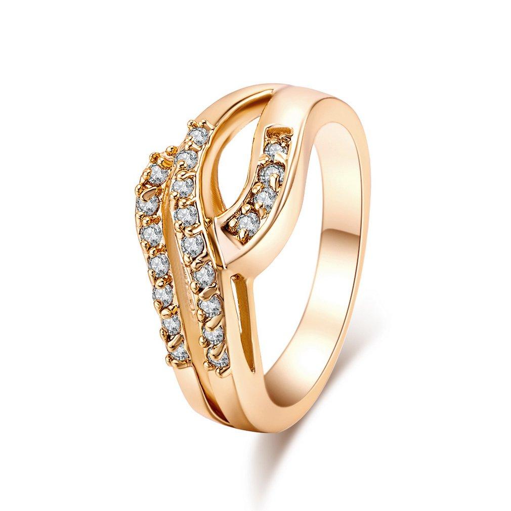 J0673-J-B-6,5 Hohl Doppel-Row Zirkon Ring Kupfer Finger Reif Hoop Mode Schmuck Dekoration für Geschenk Präsentieren