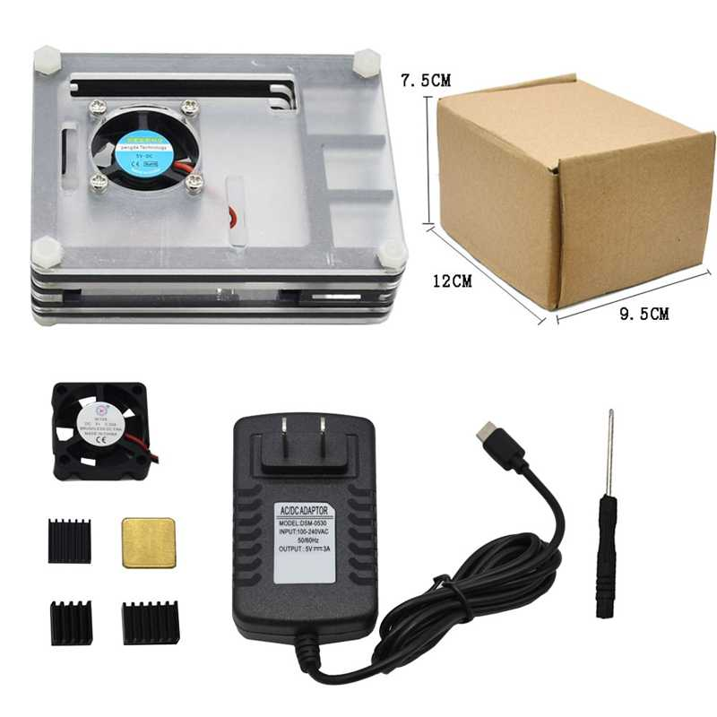 for Raspberry Pi Acrylic Case with Cooling Fan Black Heatsinks 3A Power Adapter for Raspberry Pi 4