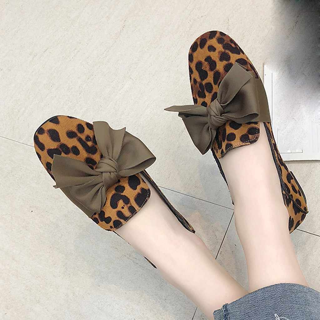 2019 Classic Brand Flats Casual Shoes Women Bowknot Loafers Sexy Leopard Oxford Slip On Moccasins Female Leather Footwear#3