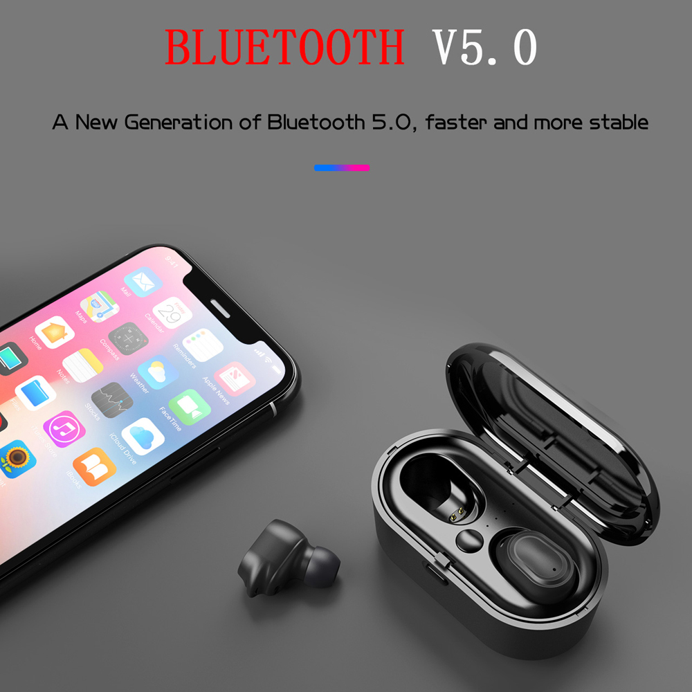 TWS Bluetooth V5 0 True Wireless Sports Earphones 6D Stereo Headset Mini Earbuds with Microphone Charging Box VS Redmi Airdots in Bluetooth Earphones Headphones from Consumer Electronics