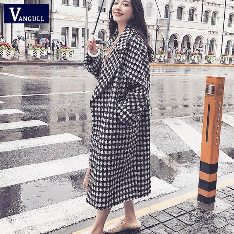 Vangull Plaid Wool Winter Coat Women Turn-down Collar Loose Thick Long Coat 2019 New Warm Black White Plaid Feminine Outerwear