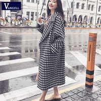 Vangull xadrez de lã casaco de inverno feminino turn-down colarinho solto grosso longo casaco 2019 novo preto quente branco xadrez feminino outerwear