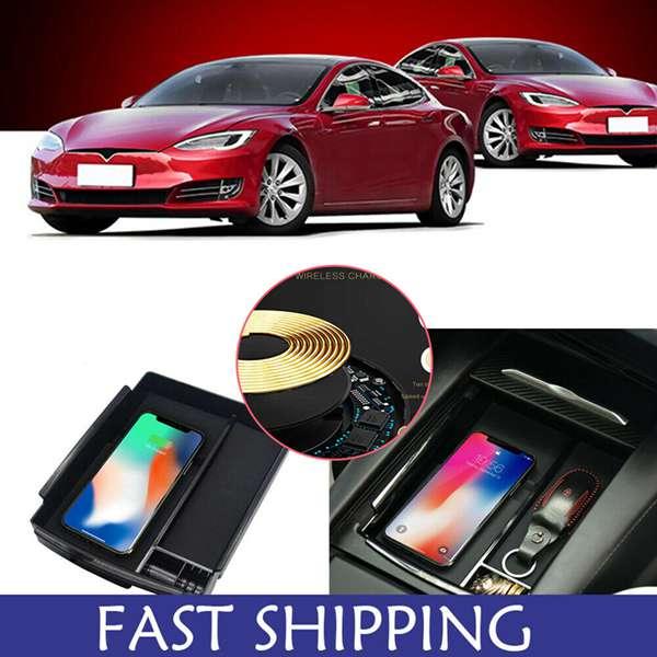 Accessoires pour Tesla modèle X et S 2 | Chargeur de téléphone sans fil, centrale Console, charge rapide, boîte d'accoudoir, plateau de rangement, accessoires