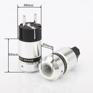 Image 3 - Enchufe de alimentación de Audio de alta gama, metal de aluminio, rodio plateado, enchufe europeo Schuk