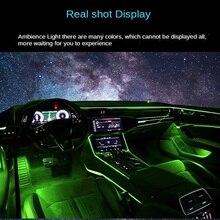 Цветная (RGB) светодиодный полоски окружающей среды светильник приложение Bluetooth Управление для салона автомобиля атмосфера светильник лампа...
