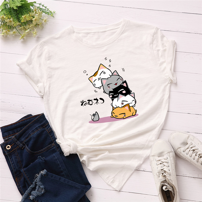 Plus Size S-2XL New Lovely Cat Letter Print   T     Shirt   Women Cotton O Neck Short Sleeve Summer   T  -  Shirt   Tops Casual Tshirt