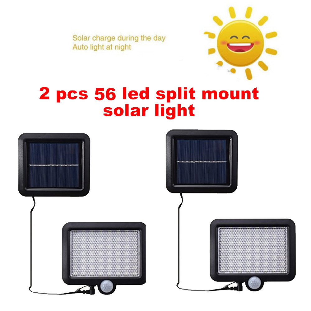 2/4pcs 100/56/30 LEDs Outdoor Solar Light PIR Motion Sensor Solar Garden Light Energy Saving Street Path Wall Lamp Sunlight Spli