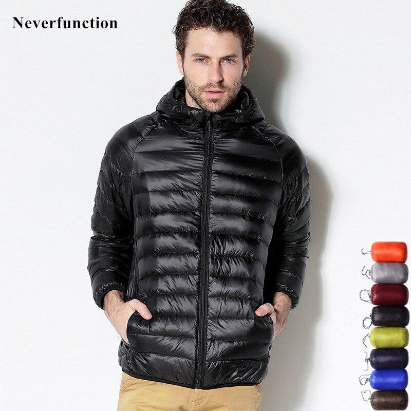 7 color Ultralight Men's Portable Hooded White Duck Down Jacket Windbreaker Feather Parka 2019 new Winter Warm Coat Outwear 6XL