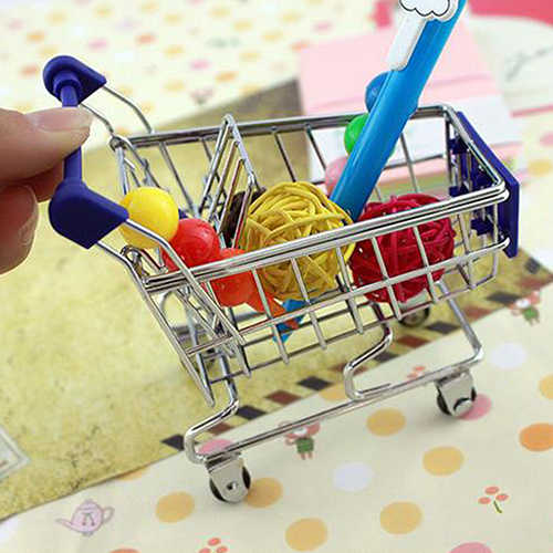 Mini supermercado mão carrinho de compras mini desktop decoração de armazenamento brinquedo presente novo para o miúdo dollhouse móveis acessórios