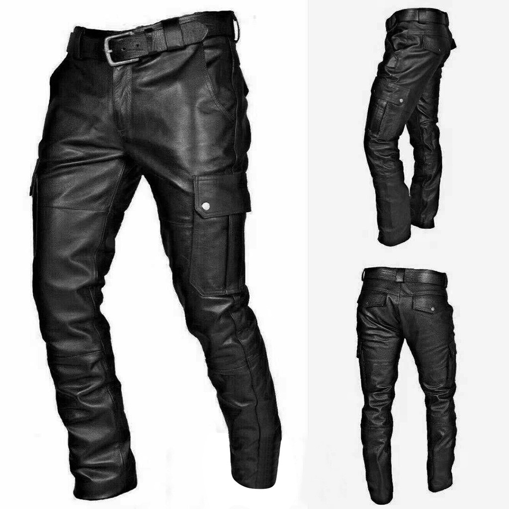 Mens Punk Rock Fashion Leather New Motorcycle Slim Fit Pants Trousers Black 38