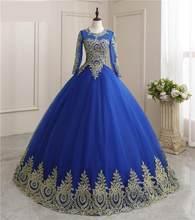 Sukienka na Quinceanera 2021 nowa luksusowa pełna rękaw Party suknia balowa Vintage Vestidos sukienka na Quinceanera es szata De Bal niestandardowy kolor
