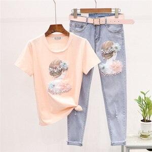 Комплект летней одежды Twopiece, женская новая модная футболка с принтом и бусинами + обтягивающие джинсы, комплект из двух предметов, женские д...