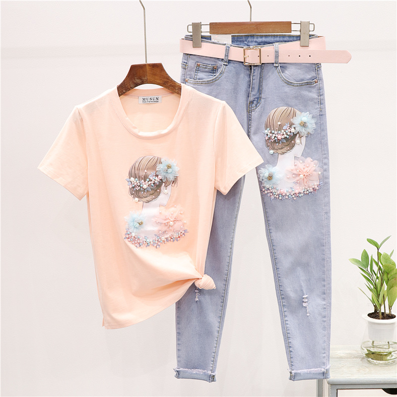 Summer Outfits Twopiece Set Women New Fashion Beads Girl Printed T-shirt + Skinny Jeans Two-Piece Set Women's Jeans Suits