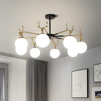 Креативный рога стеклянный шар люстра светодиодный для дома гостиной декоративное освещение Спальня Кабинет Глянцевая люстра