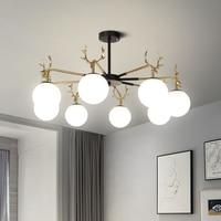 Creative antler glass ball chandelier LED home living room decorative lighting bedroom study gloss chandelier