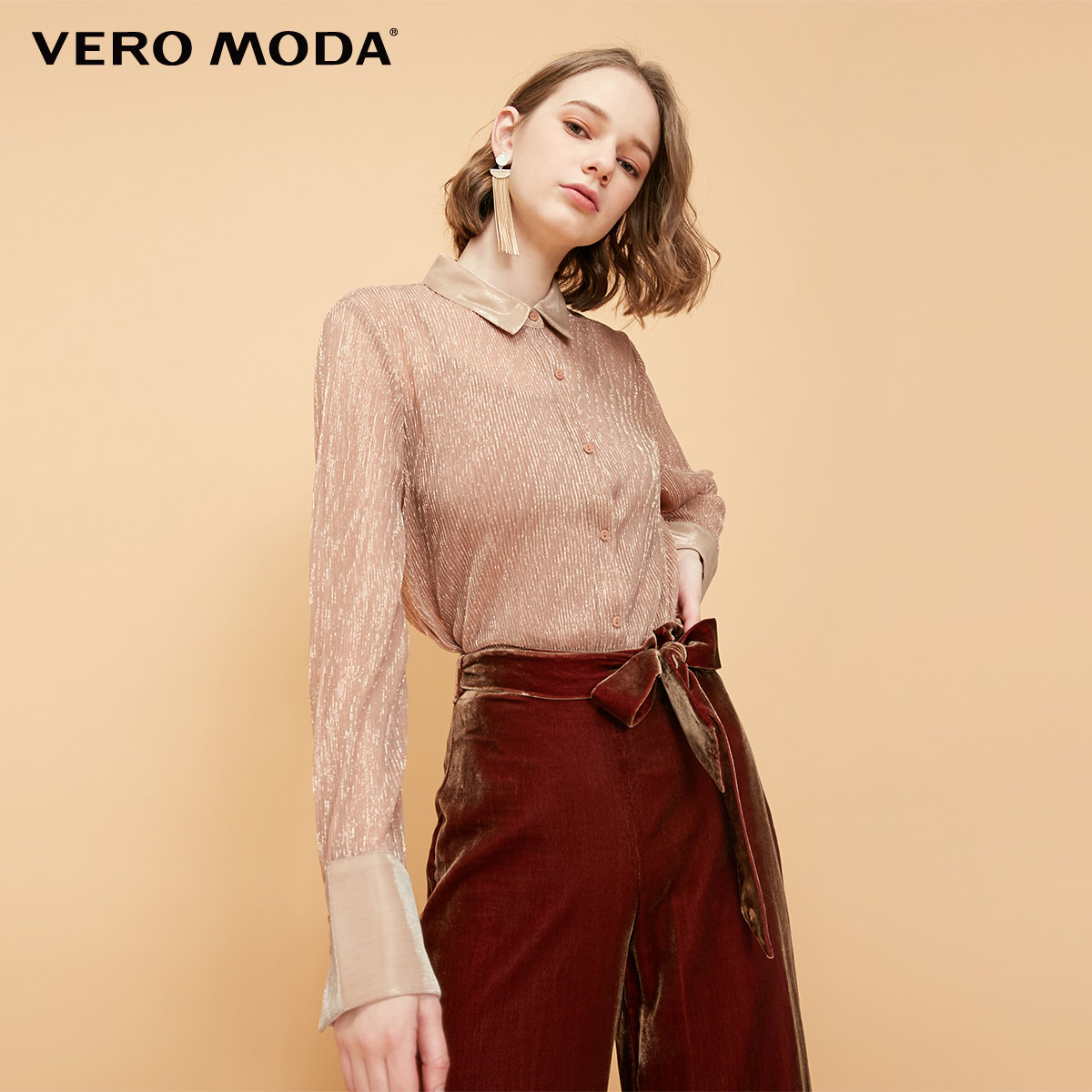 Vero Moda New Women's Golden Stitch Blending Glossy Sun-top Lining See-through Shirt | 319105510