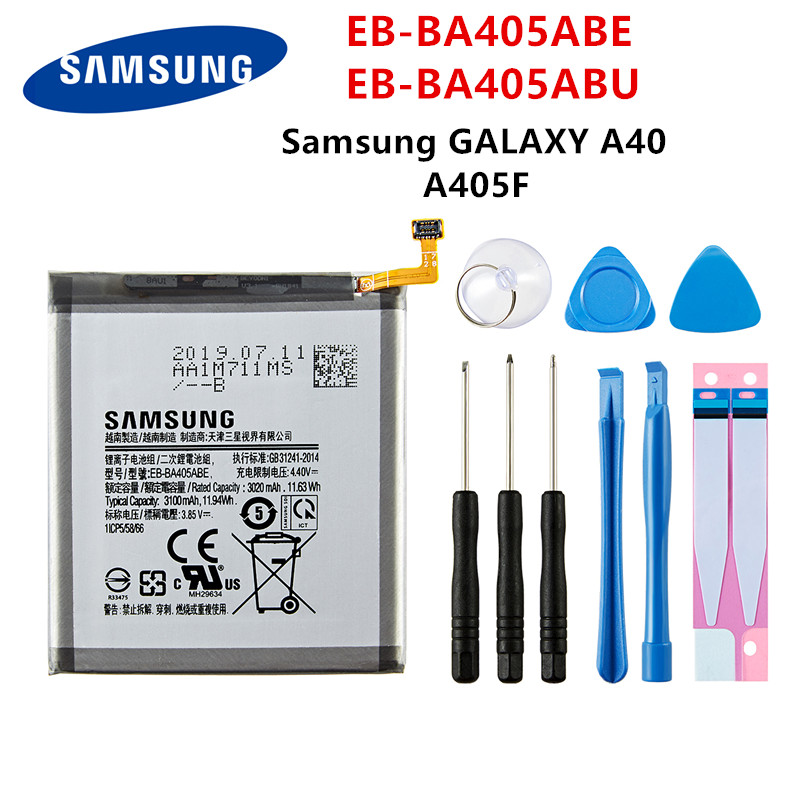 SAMSUNG Orginal EB-BA405ABE EB-BA405ABU 3100mAh Battery For SAMSUNG Galaxy A40 2019 SM-A405FM/DS A405FN/DS GH82-19582A+Tools