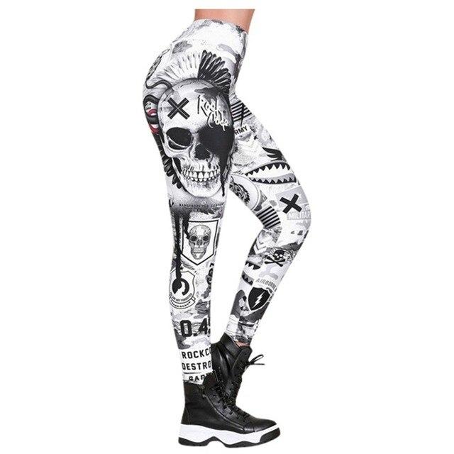 #Z30  Skull Women Printed Leggings Fitness Slim Workout Leggings Trousers For Women Fashion High Waist Leggings Clothing Mujer 5