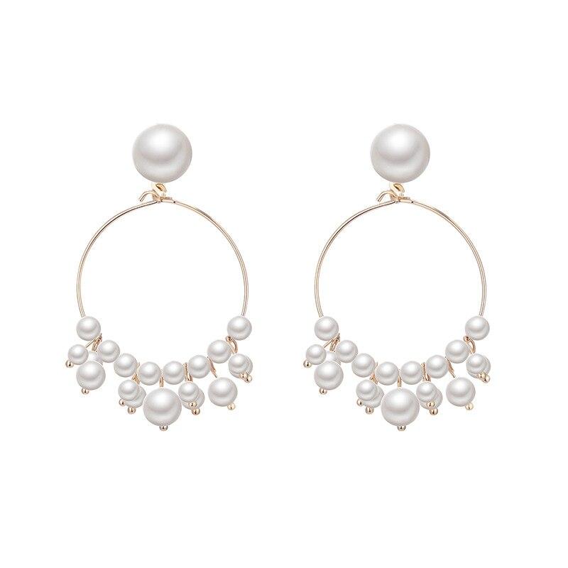 2019 new Geometric Earrings Women Korean simple pearl earrings ins fashion tassel  trendy jewelry
