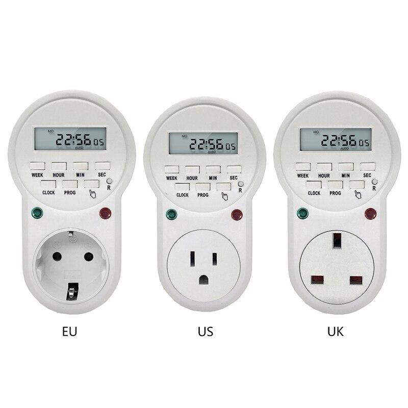 Electronic Digital Timer Switch US/EU/UK Plug Kitchen Timer Outlet 125V/230V 50HZ 7 Day 12/24 Hour For LED Grow Light Grow Tent
