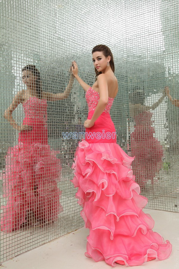 free shipping woman 2018 new design vestidos formales sweetheart organza ruffles long brides maid prom gown bridesmaid dresses