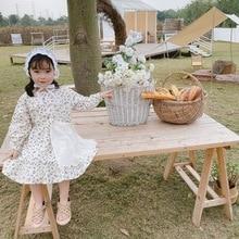 Spring Dresses 2020 New Korean Children's Clothes Girls' Cotton Floral Dress Lace Apron Long Sleeve Dress floral nine points sleeve hollow lace dress