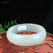 CYNSFJA Real Rare Certified Natural Chinese Hetian White Jade 59mm Womens Bracelet Bangle Nephrite Charm Amulet Fine Jewelry High Quality Best Gifts