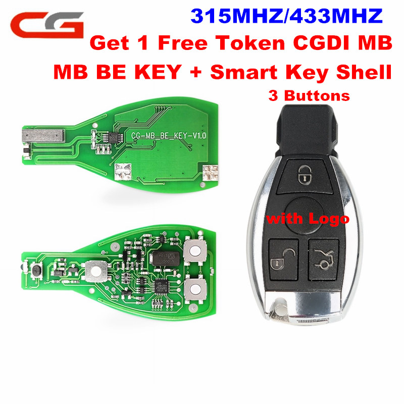 CG MB BE KEY Pro 315MHZ/433MHZ Get 1 Free Token Works For Benz Perfectly With 3Button Smart Key Shell CGDI MB Prog