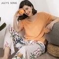 Пижама JULY'S SONG женская с цветочным принтом, вискозная одежда для сна с V-образным вырезом, ночная рубашка с коротким рукавом и эластичным пояс...